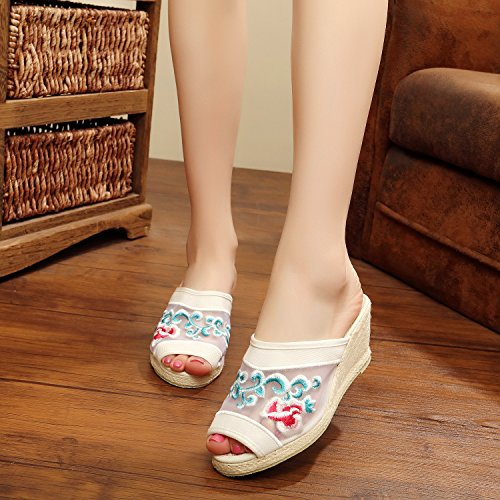 Cool Shoes Old Shoes And Heel Fish Women'S Women'S Mouth Beijing Embroidered 38 KPHY Slippers High white With Noodles pq1wXxvWP