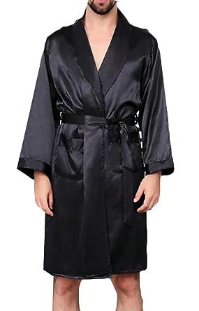 84ca8e4ce2 Pandapang Mens Satin Fashion Nightwear Thin Printing Long Sleeve Silky  Bathrobe Black XS
