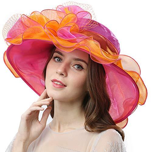 Women's Vintage 40s Two Tone Floral Wedding Fascinator Church Kentucky Derby Party Hat (Orange/Pink) -
