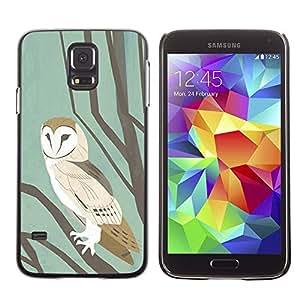 LECELL--Funda protectora / Cubierta / Piel For Samsung Galaxy S5 SM-G900 -- School Pastel Watercolor Teal Brown --