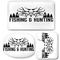 3 Piece Bath Mat Rug Set,Hunting-Decor,Bathroom Non-Slip Floor Mat,Hunting-and-Fishing-Vintage-Emblem-Design-Antler-Horns-Mallard-Pine-Tree,Pedestal Rug + Lid Toilet Cover + Bath Mat,Black-and-White
