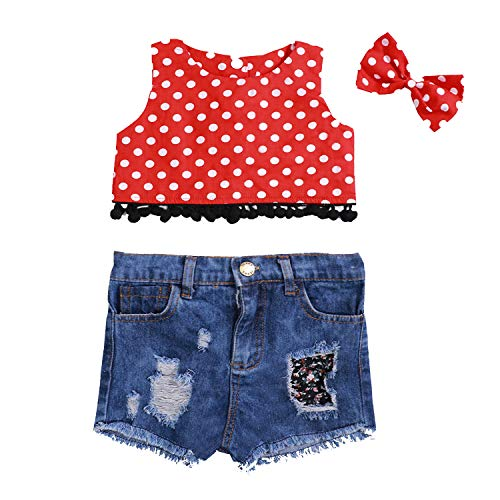 Baby Girls Clothes Short Sleeveless Polka Dots T-Shirt with Holes Denime Jeans + Cute Minnie Headband Costume Outfits Set(12-18 Months) Red]()