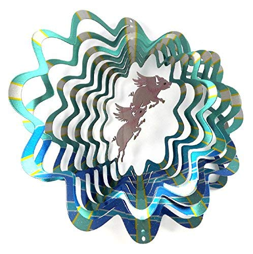 WorldaWhirl Whirligig 3D Wind Spinner Hand Painted Stainless Steel Twister Pigs Flying (12 Inch, Multi ()