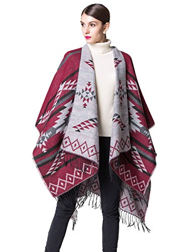 Women's Open Front Plus Size Cardigan Warm Sweater Blanket Pashmina Shawls and Wraps Bat Sleeve Cashmere Scarf Mex Poncho Cape Coat 3xl Wine Red