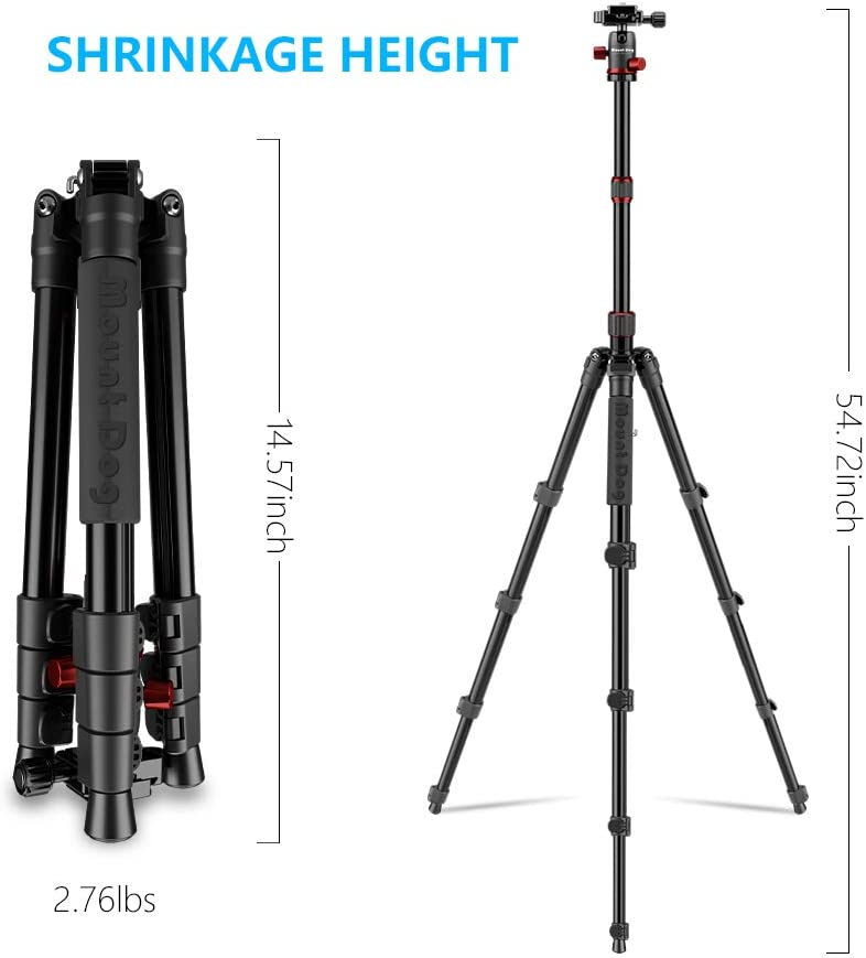 Travel and Work 55 Compact Lightweight Aluminum Tripod /& Monopod with 360/° Panorama Ball Head and 8kgs Load for Vlog MOUNTDOG Camera Tripod for DSLR