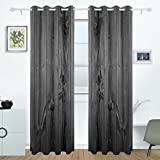 DEYYA Rustic Old Barn Wood Curtains Drapes Panels Darkening Blackout Grommet Room Divider for Patio Window Sliding Glass Door 55x84 Inches,Set of 2