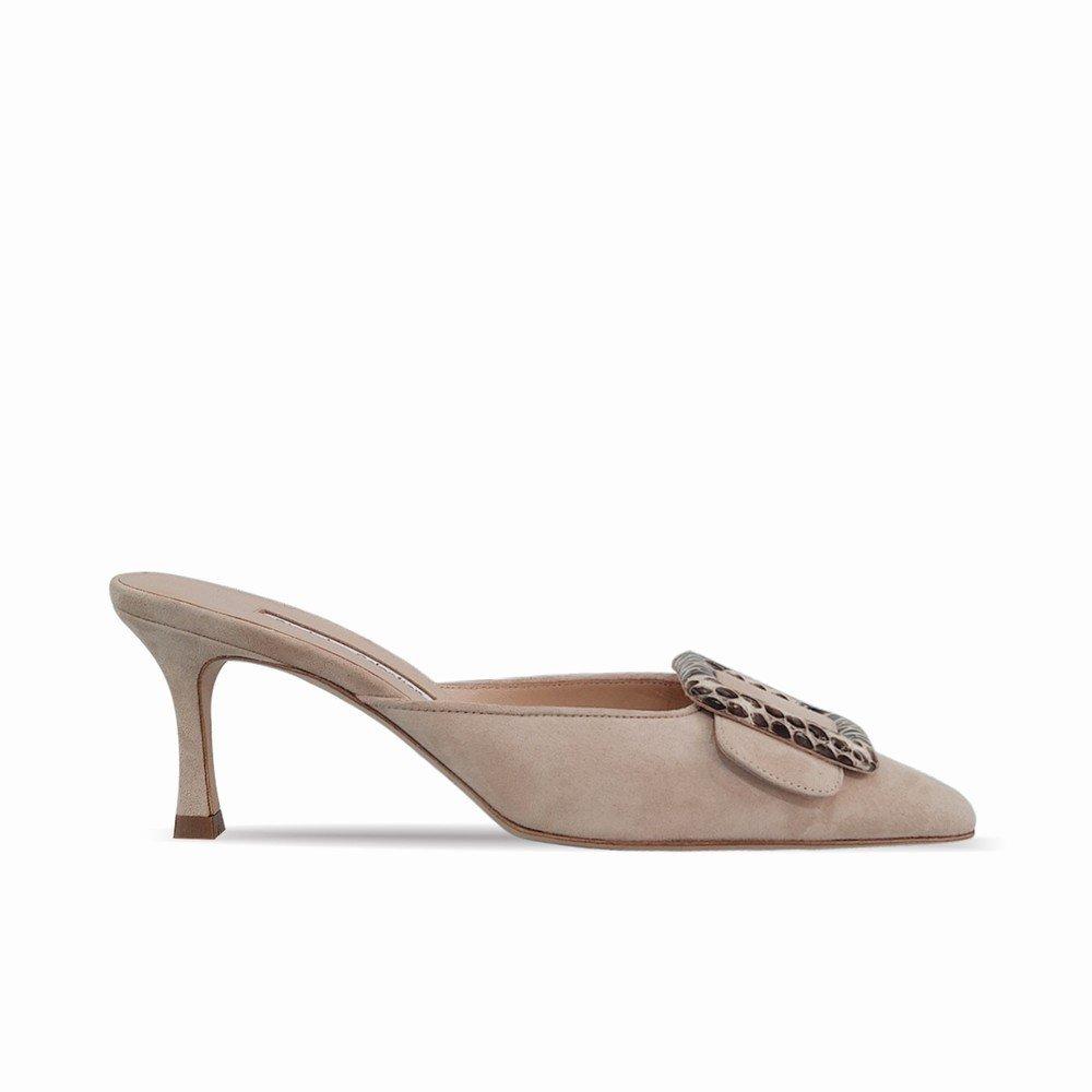 DHG Spitze Seitenschnalle Muler Schuhe Faule mit Hohen Absätzen Tragen Faule Schuhe Halbe Hausschuhe Weiblich,Nackt,39 66908c