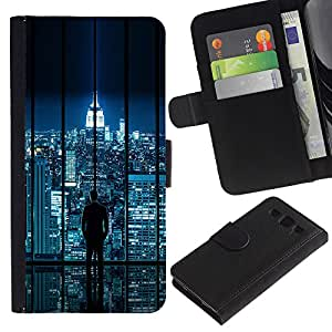 KingStore / Leather Etui en cuir / Samsung Galaxy S3 III I9300 / Horizonte de la ciudad de la ciencia ficción futurista Night Lights Nyc