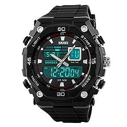 Fanmis Men's Sports Watches Quartz Clock Military Waterproof Outdoor Dual Time Watch Black