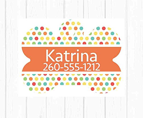 Personalized Polka Dot Dog Tag Pet Id Tag Personalized w/ Your Pet's Name & Number, Choice of Shape! (Polka Tags Dot)