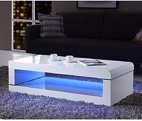 Luz Mesa baja de 120 cm Laqueada en blanco brillante con LED ...