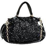 Women Handbag,Women Bag, KINGH Vintage Shoulder Bag PU Leather Sequins Messenger Bag with Long Chain 158 Black