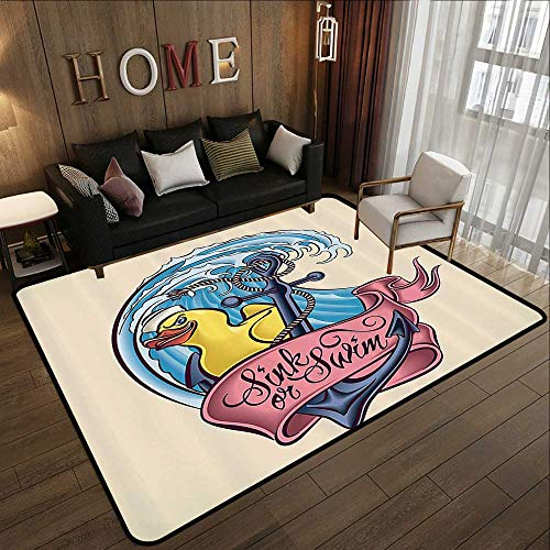 All Weather mats,Anchor Decor Collection,Anchor Bath Duck and Wave Hat Sink or Swim Banner Old Fashioned Historic Design,Navy Blue Yellow 47