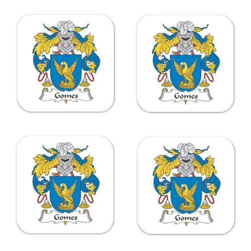 gomes-family-crest-square-coasters-coat-of-arms-coasters-set-of-4
