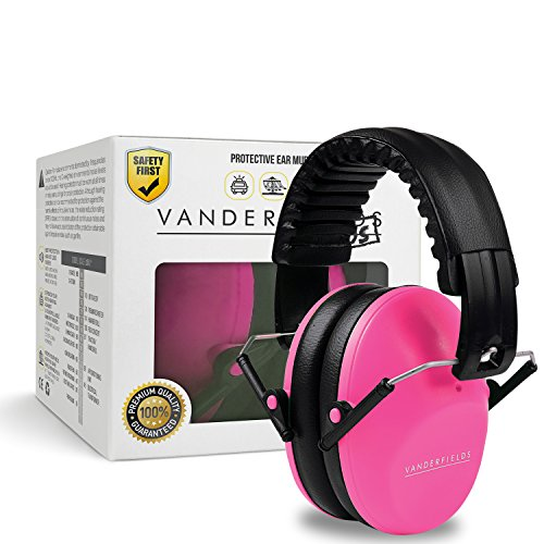 Vanderfields Earmuffs for Kids – Hearing Protection Muffs For Children Small Adults Women Foldable Design Ear Defenders Protector with Adjustable Padded Headband for Optimal Noise Reduction - Pink