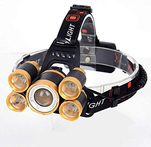 1000 Lumens Rechargeable Headlamp Waterproof T6 LED for Camping, Hiking, Hunting, Backpacking, Walking, Hard Hat, Emergency, Lightweight, Tactical, Adjustable Elastic Band