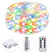 HSicily USB Plug in Fairy Lights with Remote Control Timer, 8 Modes 33ft 100 LED USB String Lights with Adapter,Multi Color LED Twinkle Lights for Christmas Bedroom Indoor Decoration