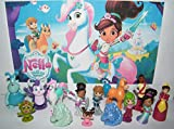 Nella the Princess Knight Deluxe Figure Set of 14 Toy Kit with 12 Figures and 2 Unicorn ToyRings featuring Nella, Unicorn Trinket, Willow, 3 Dragons, Queen Mom and More!