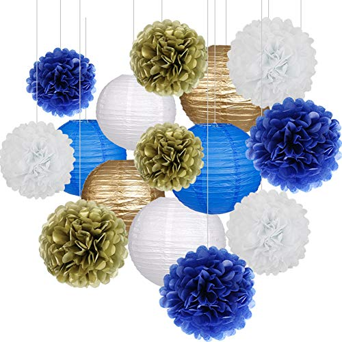 15Pcs Party Pack Paper Lanterns and Pom Pom Balls Hanging Decoration for Halloween Wedding Birthday Baby Shower-RoyalBlue/Gold/White -