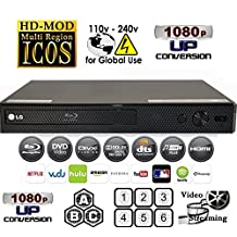 LG Lecteur BP255 LAN/WIRED MultiZone Region Code Free DVD 012345678 PAL/NTSC Blu Ray Zone A/B/C. DivX XviD AVI and MKV Playback and Support. 100~240V 50/60Hz World-Wide Use (Free 2 Meter HDMi Cable)