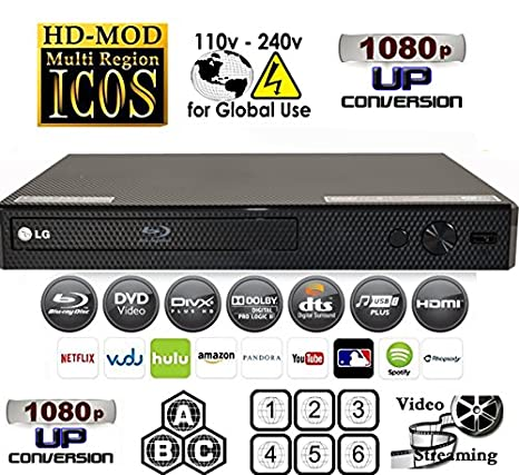 Refurbished LG BPM25 Multi System All Zone Region Free Blu Ray DVD Player + 6FT HDMI cable + EU Plug Adapter Bundle
