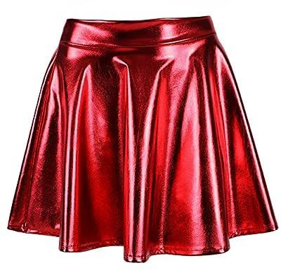 KEA KEA Women's Glossy Liquid Shine Metallic Retro Disco Skirt