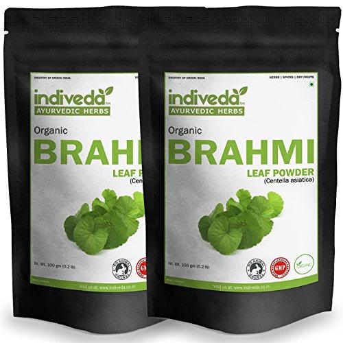 Indiveda Organic Brahmi Centella asiatica Powder for Support Healthy Brain, 100 Grams* Pack of 2