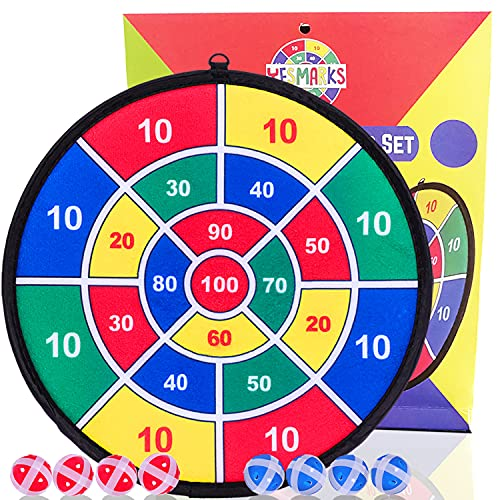 YESMARKS Kids Game Dart Board Set 8 Sticky Balls and 13.8 Inches (35cm) Dartboard - Safe Dart Game - Gift for Kids - Colorful Box Package