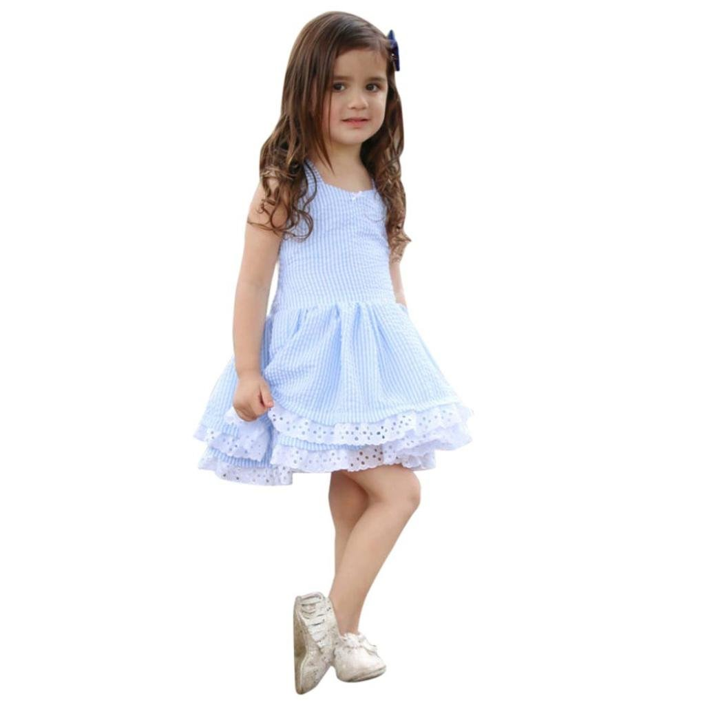 a257d5056151 Winsummer Halter Backless Dress for Kids Toddler Lace Stripe Bowknot  Princess Party Sundress 12M-5T