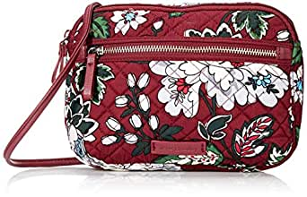 Vera Bradley Womens Iconic RFID Little Crossbody, Signature Cotton,bordeaux blooms,One Size