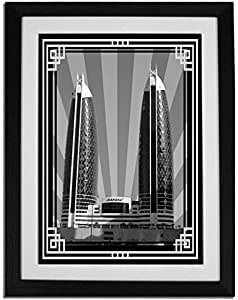 Photo of Damac Tower-Black And White With Silver Border No Text F01-M (A3)