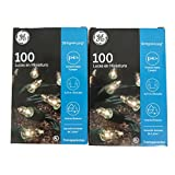 GE String A Long 100 Count Indoor / Outdoor Mini Clear White Holiday Lights Set on Green Wire (2 Pack)