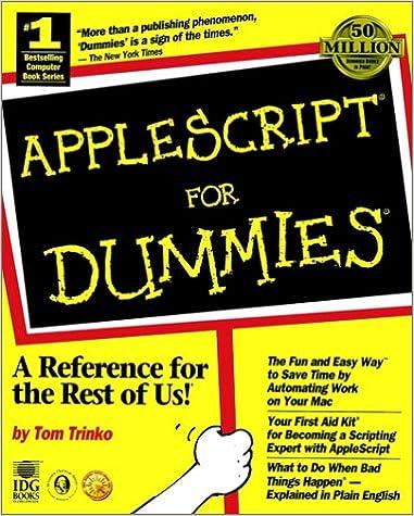 AppleScript? For Dummies?: Tom Trinko: 9781568849751: Amazon com: Books