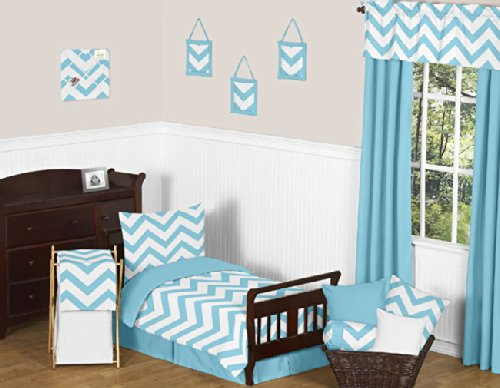 Turquoise Toddler Bed Skirt for Turquoise and White Chevron Kids Childrens Bedding Sets by Sweet Jojo Designs