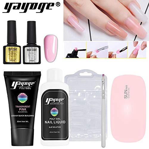 - Yayoge Poly Builder Gel Kit Nail Varnish Polish Set Quick Nail Extension hard Gel UV LED lamp Dryer