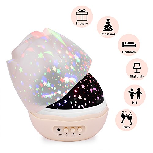 Nasus Star Night Light Projector, Updated Version with 360 Degree Rotating Projector Rosebud Lamps 4 LED Bulbs 8 Lighting Mode Decoration for Bedroom Best Gift for Baby Kids (Pink)
