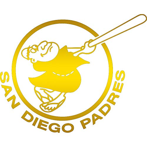 (NBFU DECALS MLB SAN Diego Padres Logo 4 (Metallic Gold) (Set of 2) Premium Waterproof Vinyl Decal Stickers for Laptop Phone Accessory Helmet CAR Window Bumper Mug Tuber Cup Door Wall Decoration)
