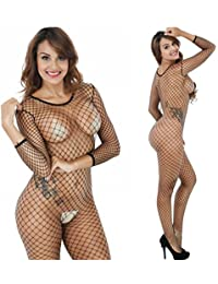 black sexy lingerie opening crotchlss fishnet jumpsuit bodystockings