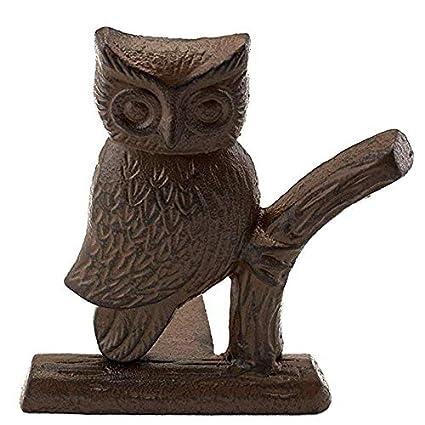 Comfify Cast Iron Owl Door Stop Decorative Door Stopper Wedge With Padded Anti Scratch Felt Bottom Vintage Design 6x6 5x6 3 Rust Brown