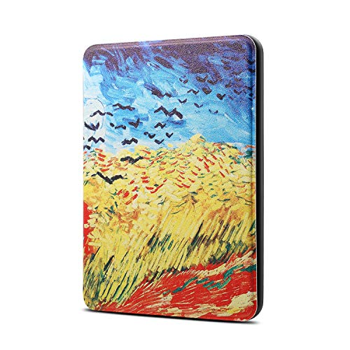 (EC-Touch Slim Case for Kindle Paperwhite 2018(10th Generation) - Thinnest and Lightest Premium Leather Smart Cover with Auto Wake/Sleep Function (Van Gogh Oil Painting))