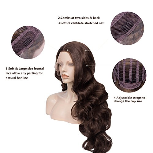 IMSTYLE Lace Front Wigs Natural Brown Wigs For Women Synthetic Long Wave Heat Resistant Synthetic Hair Costume Wigs 26inch by IMSTYLE (Image #3)