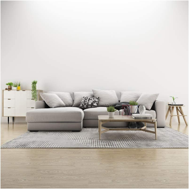 YEELE Modern Living Room Backdrop 10x10ft Gray Sofa and Wood End Table Photography Background Simple House and Home Design Cozy Apartment Kids Adult Portrait Photo Studio Props Wallpaper