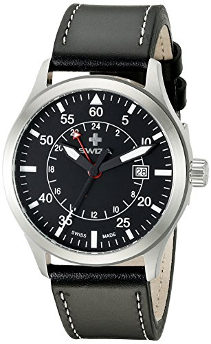 Swiza Men's WAT.0352.1001 Siriuz Analog Display Swiss Quartz Black Watch