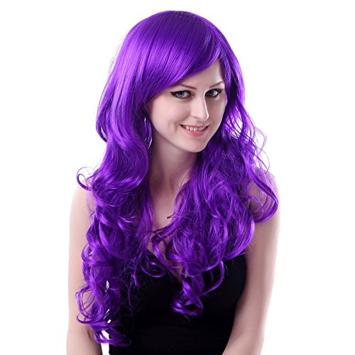 HDE Women's Wig Long Curly Wavy Hair (24 Inches Total Length) With Included Wig Cap Synthetic Halloween Cosplay LARP Costume Accessory ()