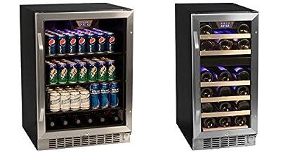 Edgestar 148 Can Stainless Steel Beverage Cooler & 26 Bottle Dual Zone Wine Cooler