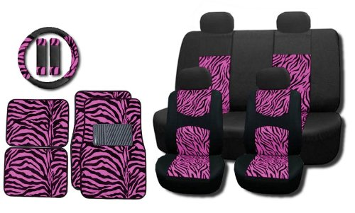 - New and Exclusive Mesh Animal Print Interior Set Pink Zebra 15pc Seat Covers Front & Back Lowback, Back Bench, Steering Wheel & Seat Belt Covers - Floor Mats - Padded Comfort