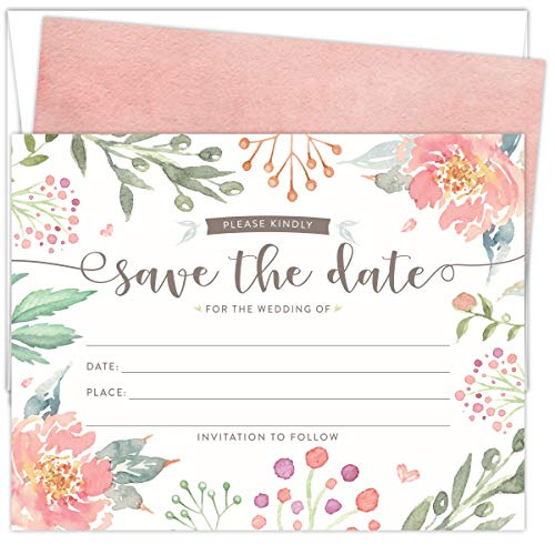 (Koko Paper Co Save The Date Cards for Weddings. Set of 25 Fill-in Style Cards and White Envelopes. Light Pink and Green Florals Designs. Printed on Heavy Card)
