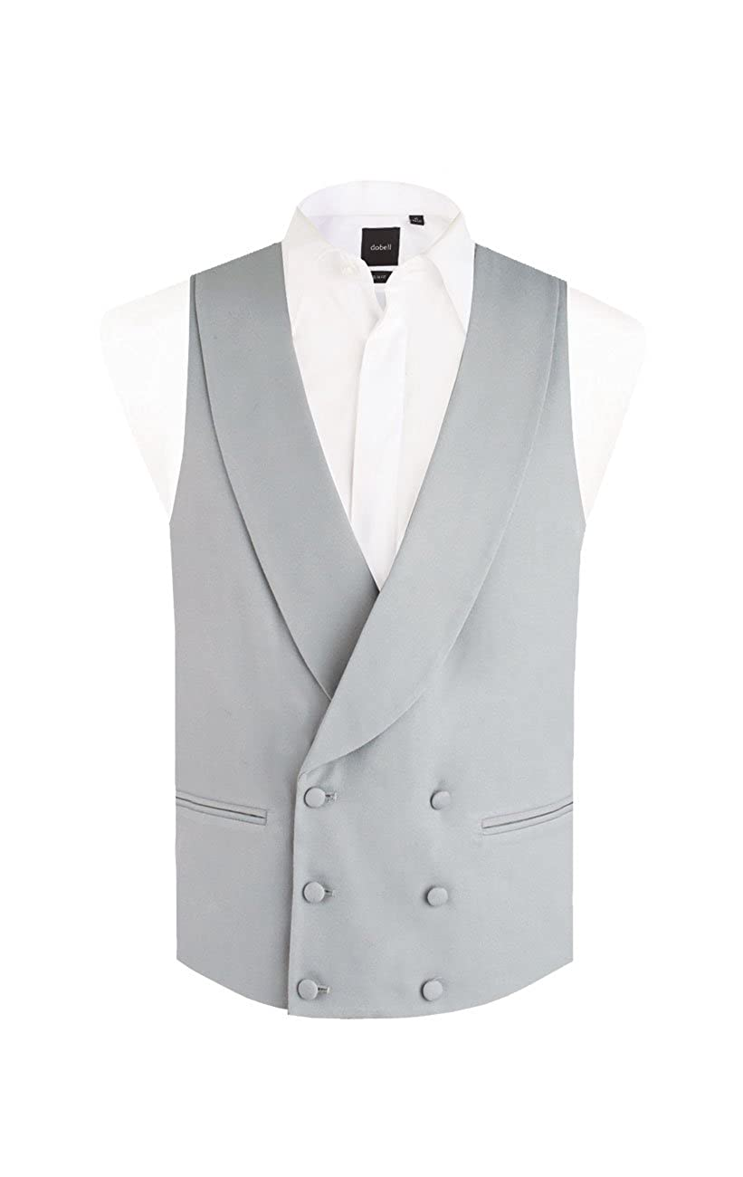 Dobell Boys Dove Grey Morning Wedding Suit Vest Regular Fit Shawl Lapel Double Breasted