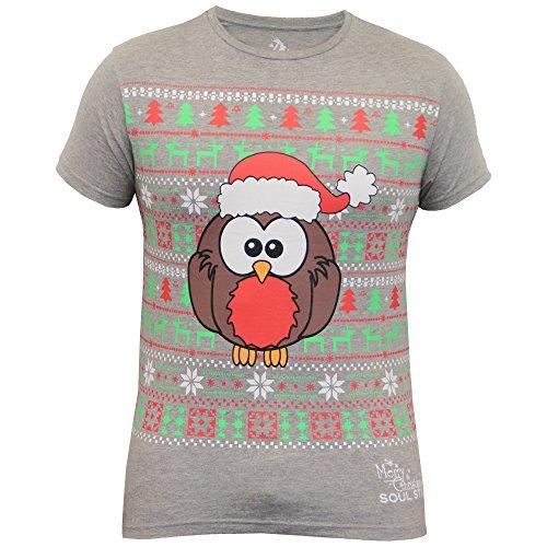 Herren Weihnachten T-shirt Soul Star Weihnachtsbaum Rudolf Rentier Robin Schneeflockendruck - Grau - ROCKIN, XX-Large