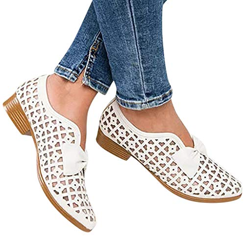 Cenglings Womens Pointed Toe Breathable Hollow Out Low Chunky Heel Shoes Roman Casual Slip On Shoes Party Sandals White